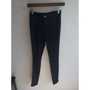 Shiny Black High-Wasted Pants